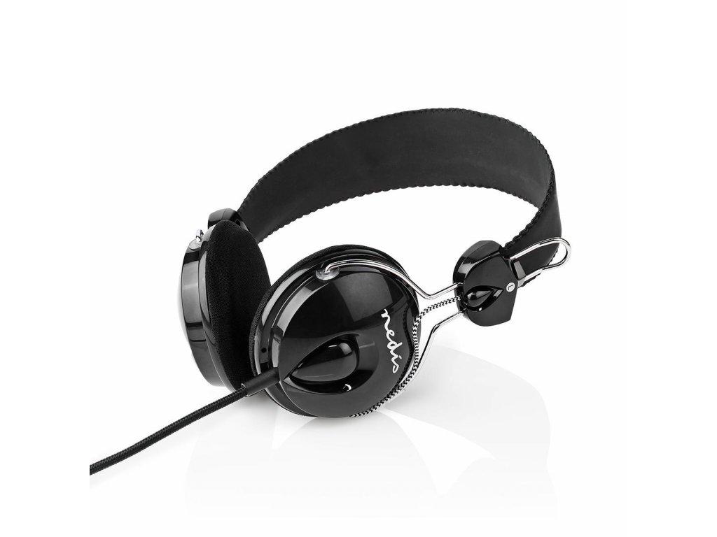 Nedis HPWD1104BK sluchátka přes uši, kabel 1.1 m, černá