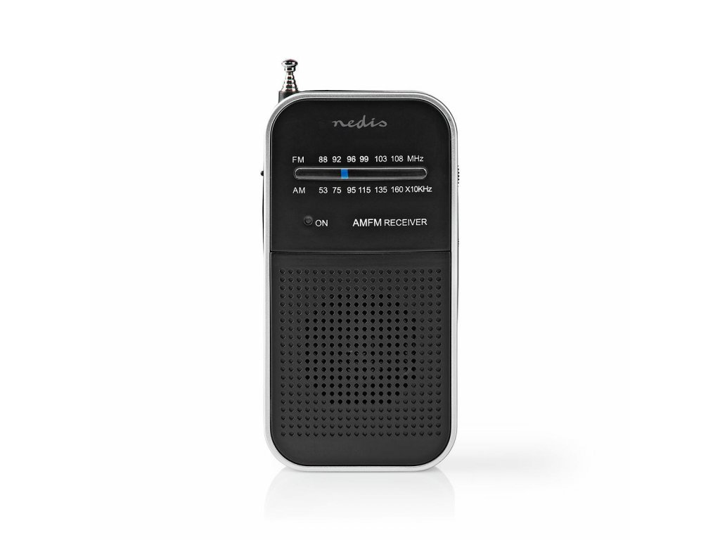 Nedis RDFM1110SI kapesní radiopřijímač FM 1.5 W, stříbrná/černá