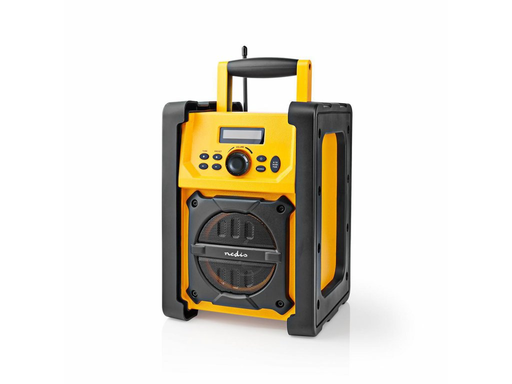 Nedis RDFM3100YW stavební FM rádio s Bluetooth®, vodotěsné IPX5, 15W, žlutá / černá