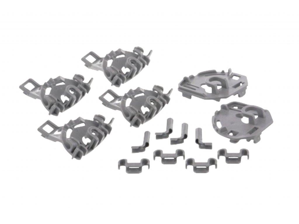 Sada vodítka, ložiska a držáky sklápěcích částí dolního koše myčky Bosch a Siemens 418675