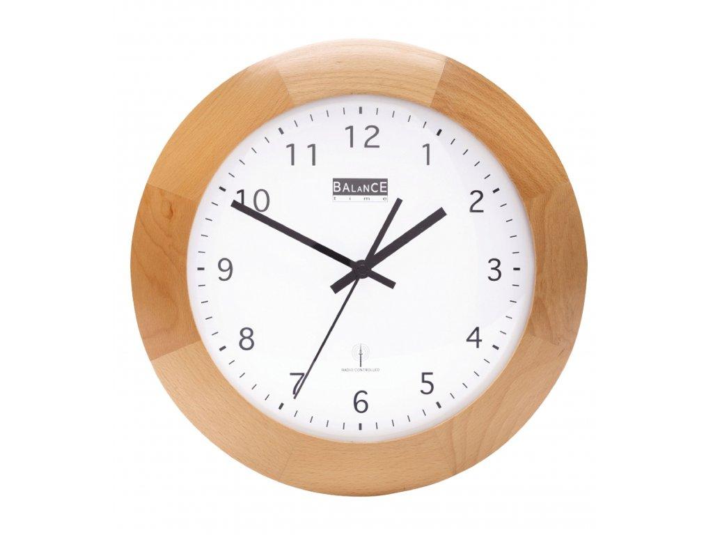Rádiem řízené dřevěné nástěnné hodiny 32 cm, Balance 506452