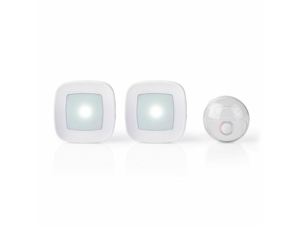 Nedis DOORB220CWT2 bezdrátový zvonek, 80 dB, 36 melodií, napájený ze sítě, blikající LED, 2x přiímač, bílý