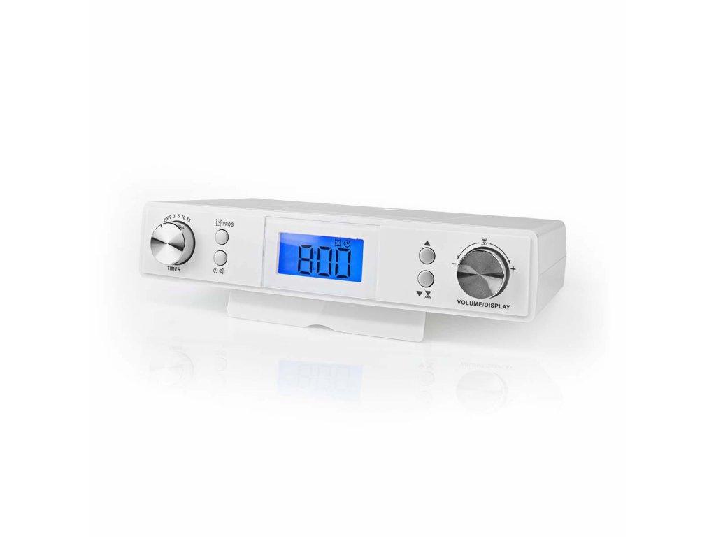 Nedis RDFM4010WT FM rádio pod kuchyňskou linku, 20 předvoleb, displej s automatickým stmíváním, bílá