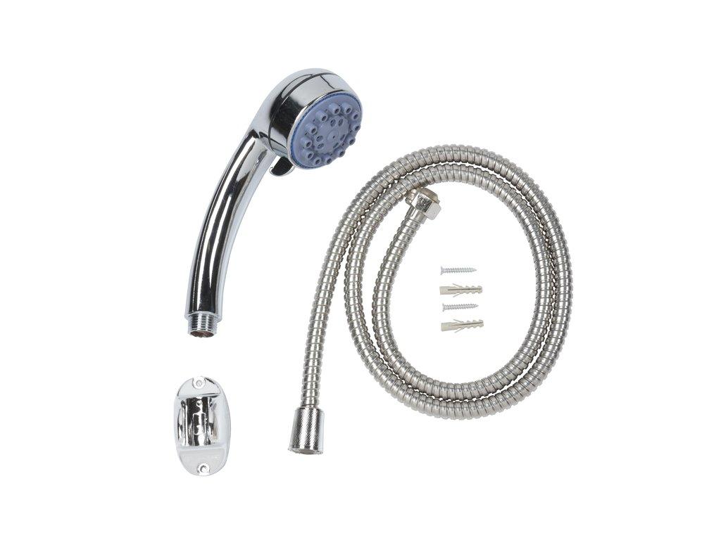 Sprchový set - sprchová hlavice průměr 6,5 cm, pětipolohová, sprchová hadice 150cm a hák na uchycení na stěnu