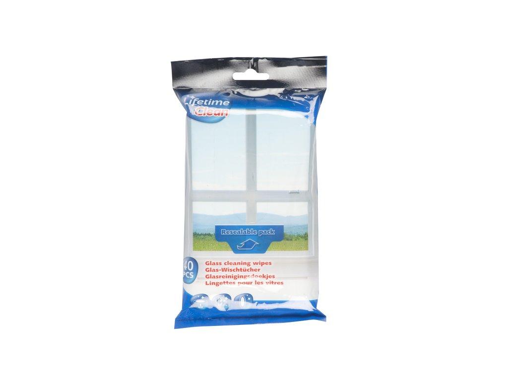 Vlhčené čisticí ubrousky na sklo 40ks, uzavíratelný pack