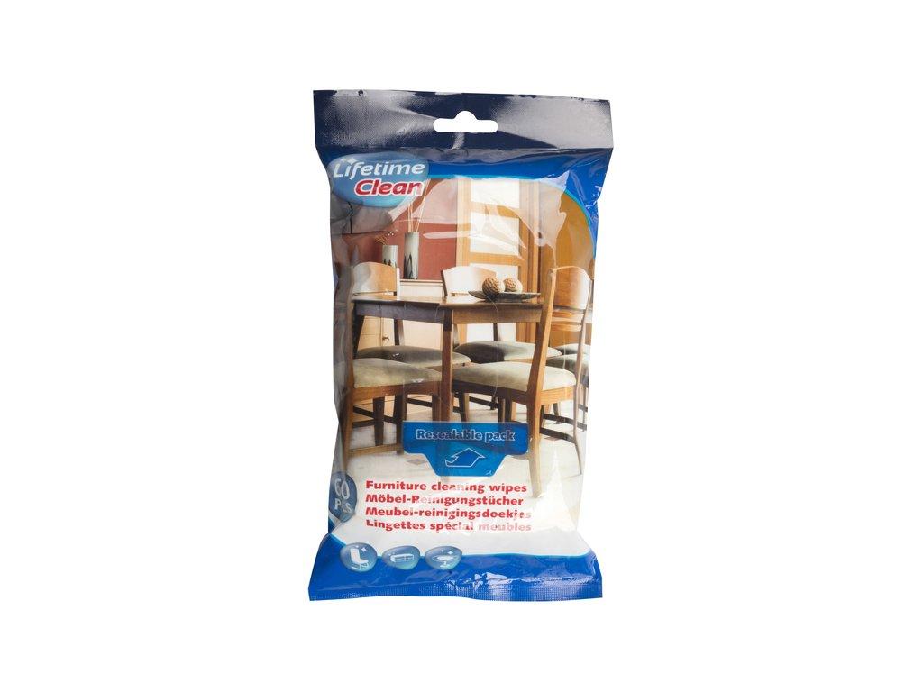 Vlhčené čisticí ubrousky na nábytek 60ks, uzavíratelný pack