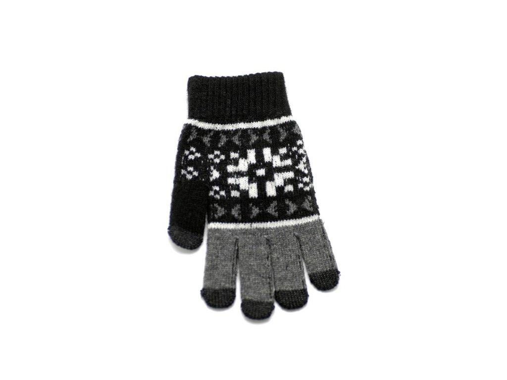 Rukavice iTECH s elektrovodivými konečky 3677 (5 prstů) velikost L černé, vzor Cortina