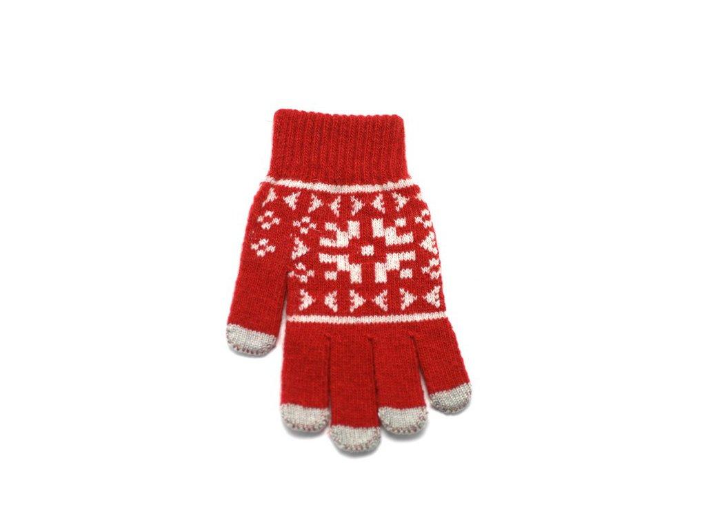 Rukavice iTECH s elektrovodivými konečky 3683 (5 prstů) velikost L červené, vzor Claus