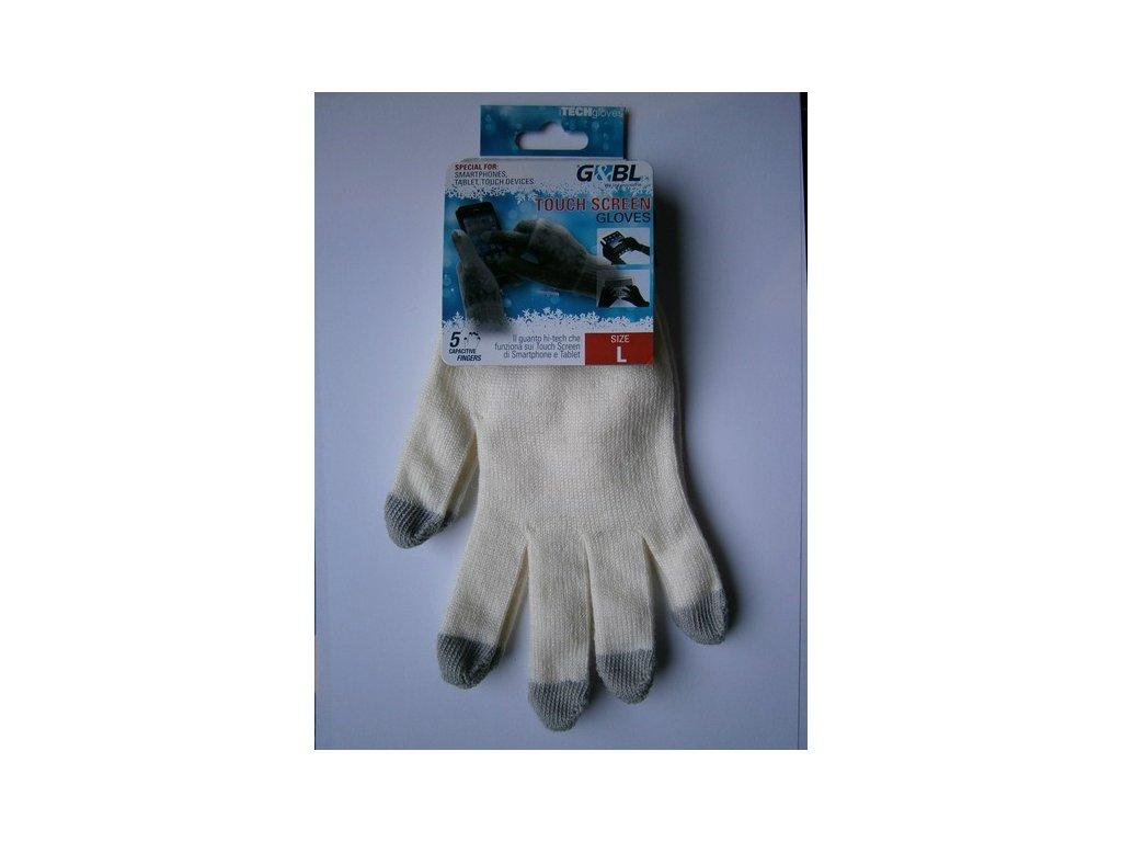 Rukavice iTECH s elektrovodivými konečky 3685 (5 prstů) velikost L bílé