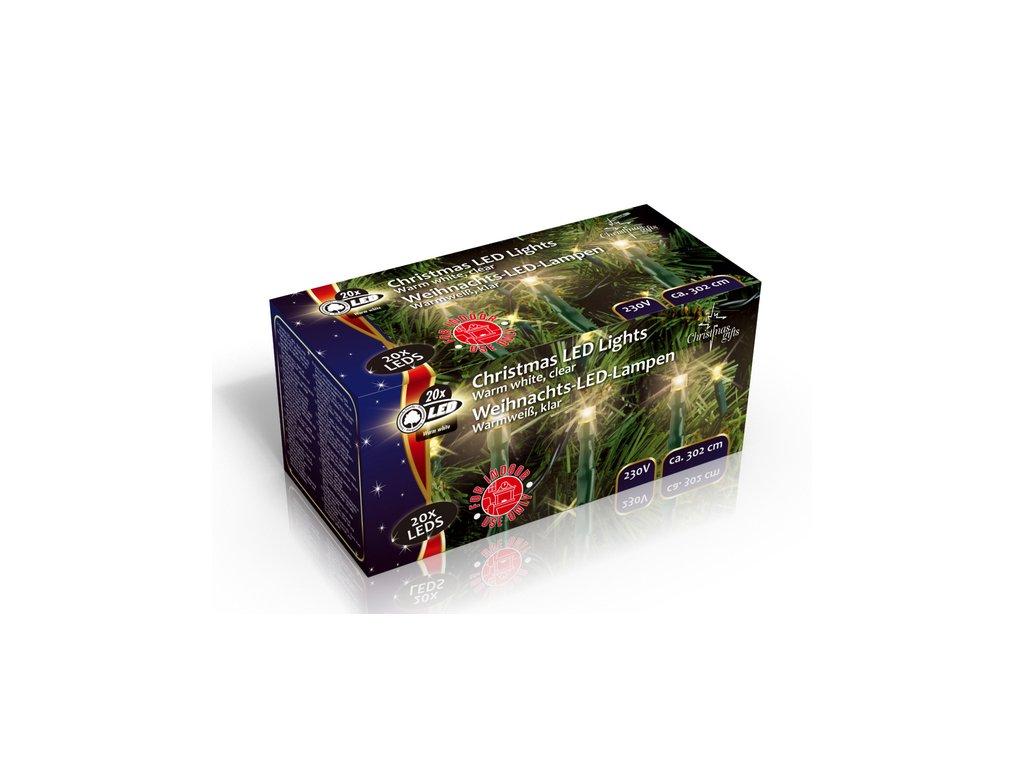 Vánoční vnitřní světelný řetěz 20x LED dioda teplá bílá, 230V, délka 3.1 m