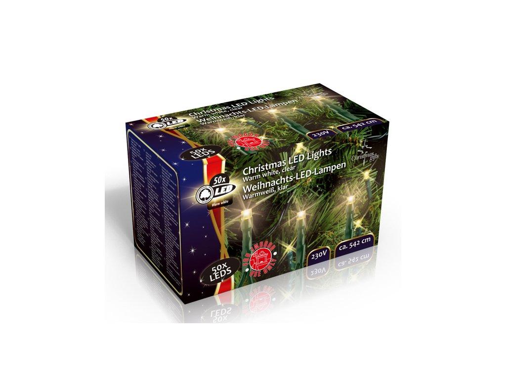Vánoční vnitřní světelný řetěz 50x LED dioda teplá bílá, 230V, délka 5.5 m