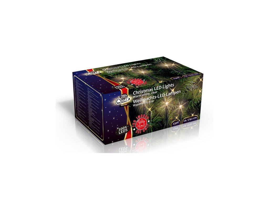 Vánoční vnitřní světelný řetěz 200x LED dioda teplá bílá, 230V, délka 17.5 m