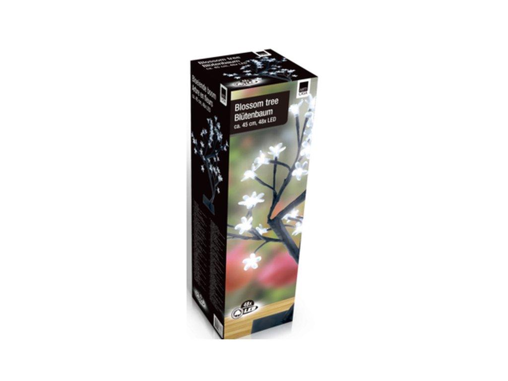 Vánoční dekorace - rozkvetlá větev, 48x LED, 45 cm, na baterie 4x AA
