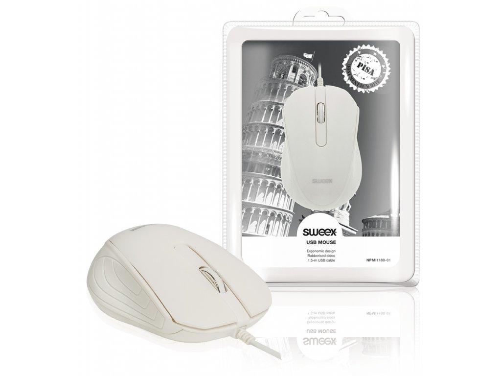 Sweex Pisa klasická USB myš, 1000 dpi, bílá NPMI1180-01