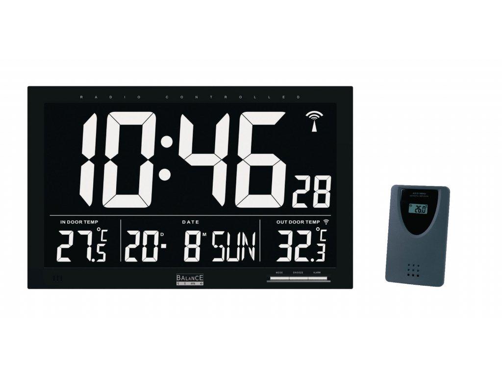Rádiem řízené nástěnné hodiny 37x23cm s meteostanicí Balance 866498