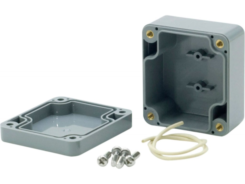 Krabička ABS plast, IP 65, tmavě šedá 64 x 58 x 35 mm