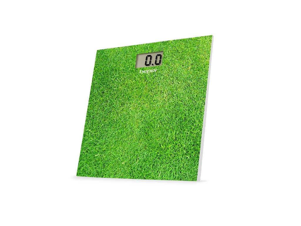 BEPER 40810F3 digitální skleněná osobní váha do 150kg, zelená - tráva