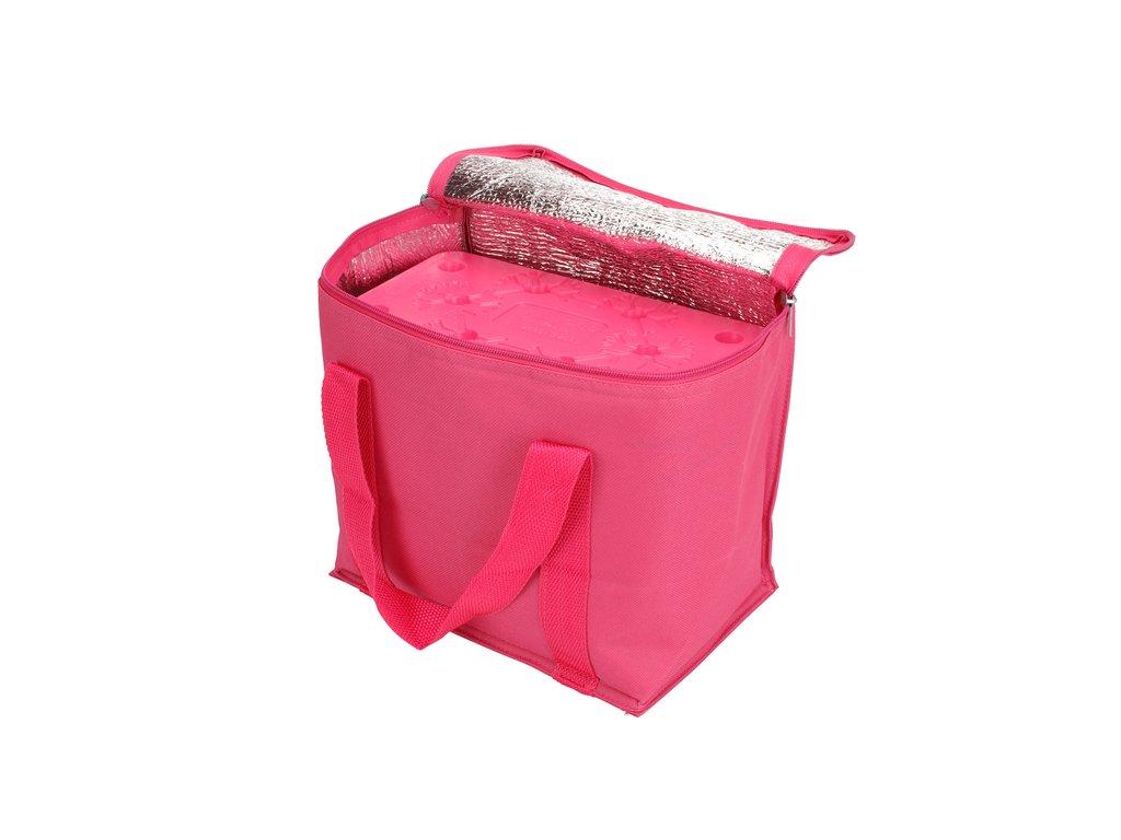 Chladicí taška růžová (objem 7l) a velká chladicí vložka (350 ml)