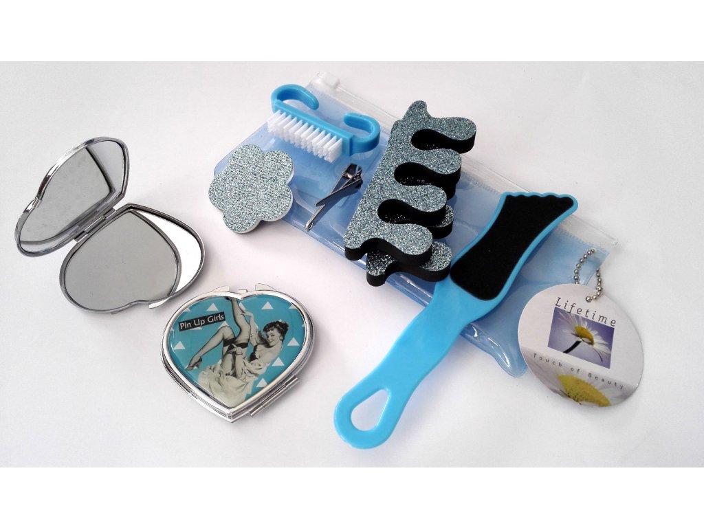 Kosmetický set pedikúra a zrcátko 7 + 1 ks, modrý