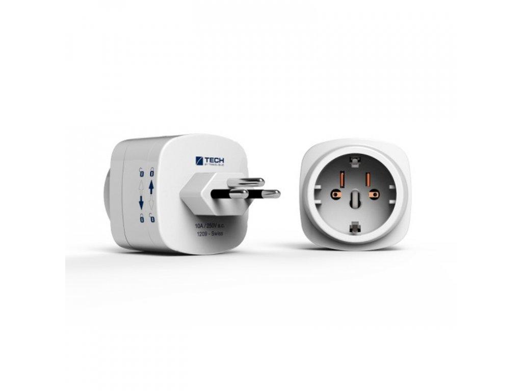 TECH cestovní adaptér pro použití ve Švýcarsku a Lichtenštejnsku