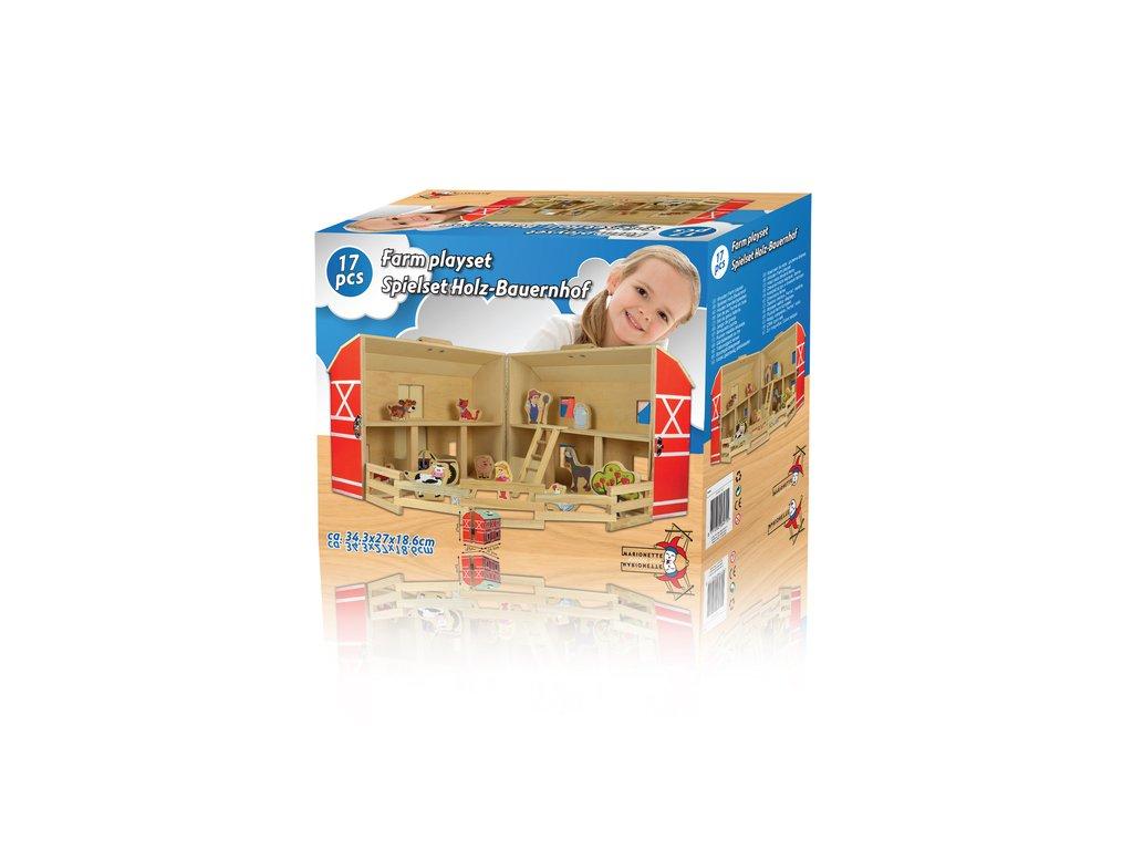 Dřevěný hrací set farma (sada 17 ks)