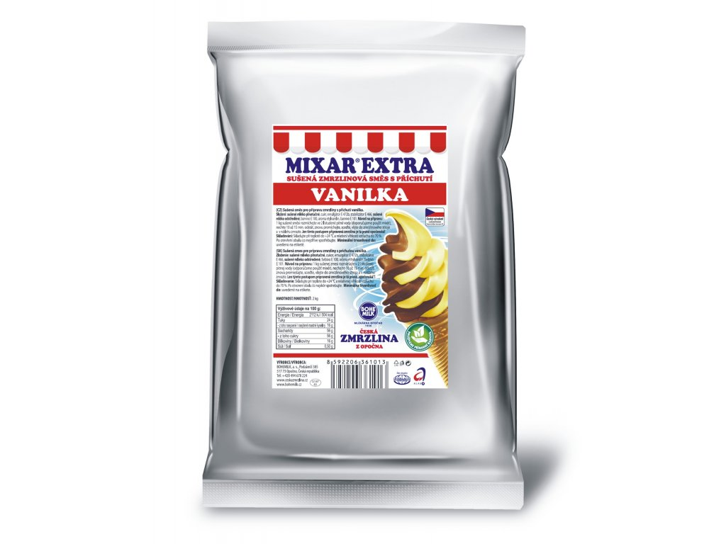Zmrzlinová směs Bohemilk MIXAR EXTRA Vanilka, balení 1kg