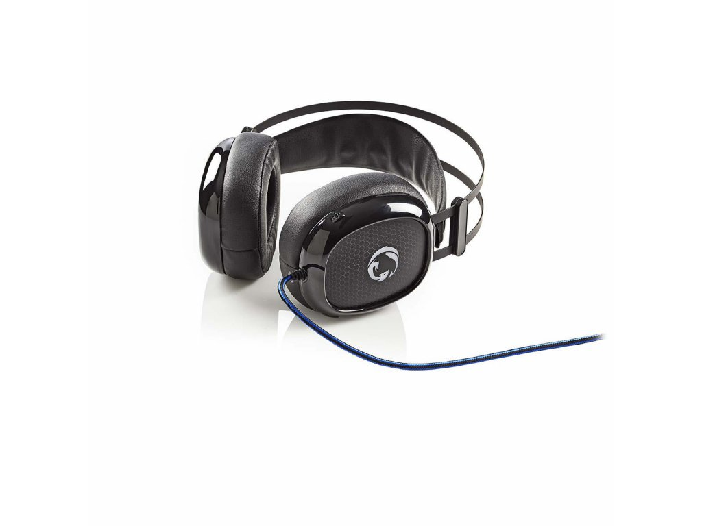 Nedis GHST300BK herní sluchátka / Ultra Bass / LED / 3.5 mm + USB