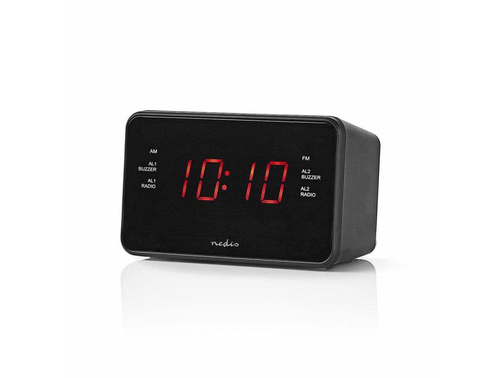 """Nedis CLAR002BK radiobudík, 0.9"""" LED displej, FM rádio 20 předvoleb, duální budík"""