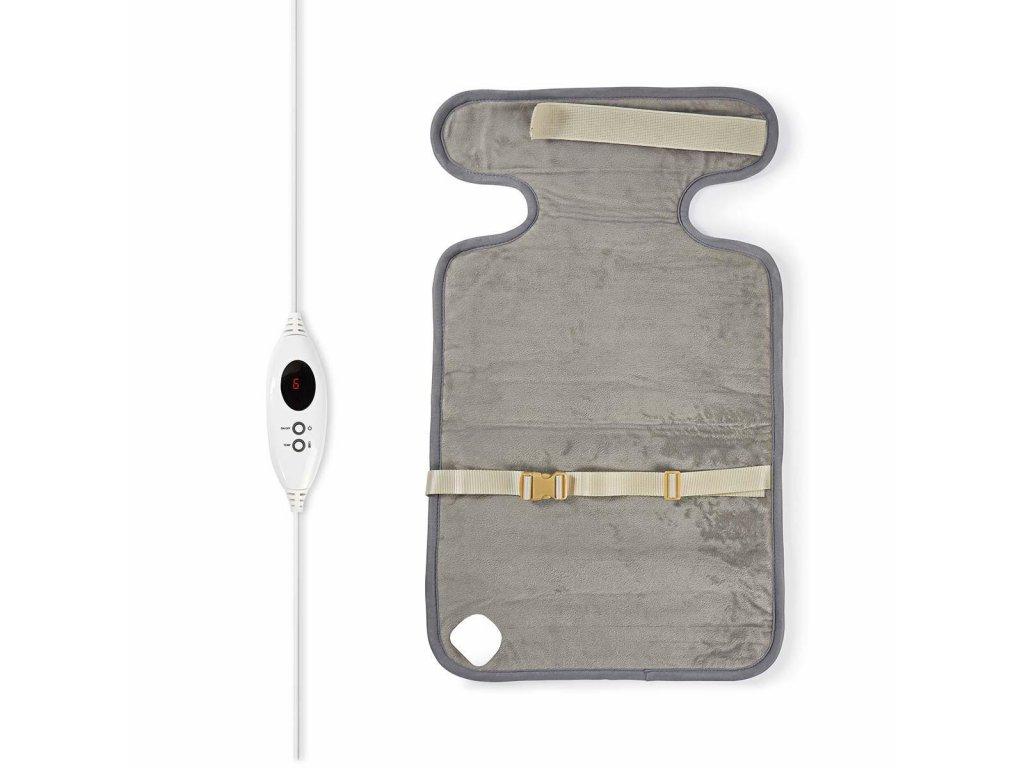 Nedis PEHP111CGY nahřívaná dečka na krk a záda, 38 x 65 cm, 6 nastavení teploty, digitální ovládání, ochrana proti přehřátí