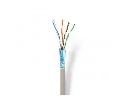 Nedis měděný síťový kabel UTP Cat5E drát šedý, 100 m (CCBGUTP5GY100S)