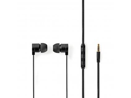 Nedis HPWD5021GY hliníková sluchátka do uší, mikrofon, plochý kabel, 1.2 m, šedá