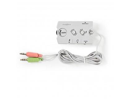 Nedis ASCR10020GY analogový audio přepínač s regulací hlasitosti pro PC repro, sluchátka a mikrofon