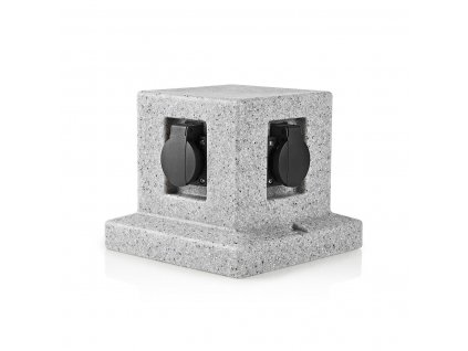 Nedis EXGS50 zásuvkový sloupek, 4 x schuko, 16 A, venkovní IP44, šedá imitace kamene