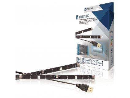 König USB LED pásek za TV, 2x 50 cm, RGB, stmívatelný König KNM-ML2RGBD