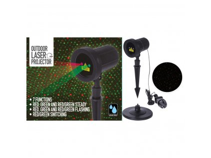 Laserový projektor se 7 barevnými efekty, 230V, voděodolný IP44 (AXY000600)
