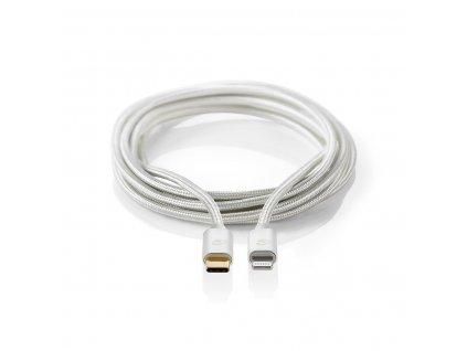Nedis CCTB39650AL20 Apple Lightning certifikovaný kabel zástrčka Apple Lightning 8-pin - zástrčka USB-C, aluminium, 2 m
