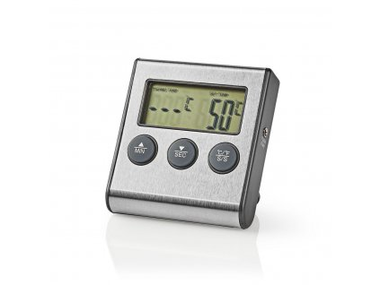 Nedis KATH104SS digitální teploměr na maso, 0–250 °C, časovač, broušený hliník