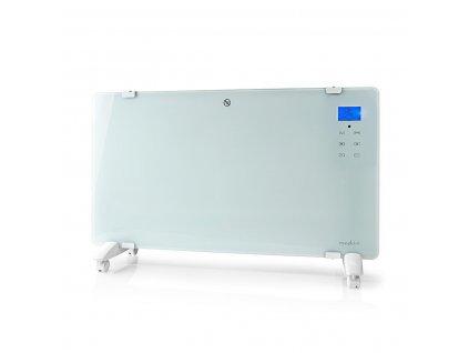 Nedis HTPL20FWT skleněný konvekční přímotop, LCD displej, 2000 W, bílá