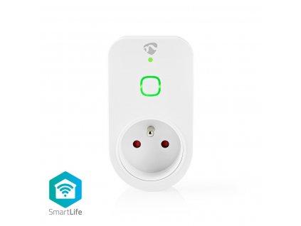 Nedis SmartLife chytrá zásuvka, monitor spotřeby, ochranný kolík, 16 A (WIFIP120EWT)