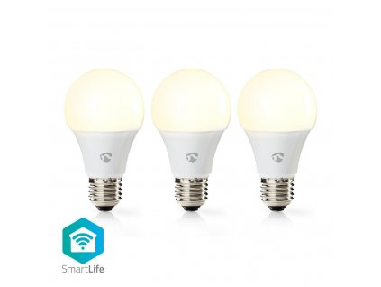 Nedis SmartLife chytrá LED žárovka E27 9W 800lm 2700 K, sada 3 ks (WIFILW31WTE27)