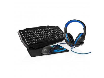 Nedis GCK41100BKUS herní set 4 v 1 herní klávesnice, myš, headset a podložka