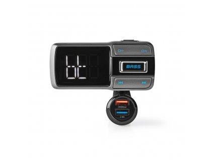 Nedis CATR101BK FM transmitter / Bluetooth® / microSD / handsfree do auta / hlasové ovládání / 2 x USB 3A a 2.4A