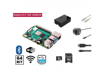 Raspberry Pi 4 4 GB Starter Kit + NOOBS Software Tool (RP4KIT4GB)