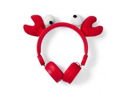 Nedis® Animaticks Chrissy Crab uzavřená sluchátka s odpojitelným kabelem 1.2m (HPWD4000RD)