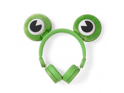 Nedis® Animaticks Freddy Frog uzavřená sluchátka s odpojitelným kabelem 1.2m (HPWD4000GN)