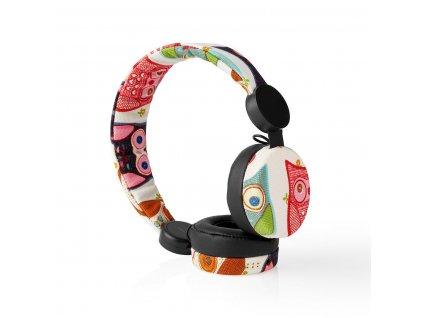 Nedis® N-imal uzavřená sluchátka s kabelem 1.2m, látkový povrch s dekorem sovy (HPWD4102BK)
