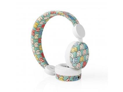 Nedis® N-imal uzavřená sluchátka s kabelem 1.2m, látkový povrch s dekorem slona (HPWD4100WT)
