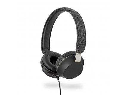 Nedis FSHP100AT uzavřená sluchátka s látkovým povrchem, 111 dB, kabel 1.2 m, antracit