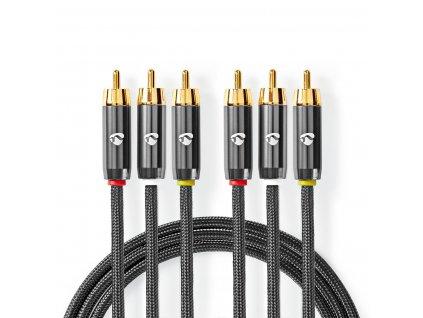Nedis Fabritalic kompozitní A/V kabel zástrčka 3x CINCH - zástrčka 3x CINCH, 2 m (CVTB24300GY20)