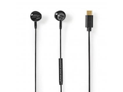 Nedis HPWD2071BK špuntová sluchátka do uší, 100 dB, USB-C™, mikrofon, hlasový asistent, kabel 1.2 m